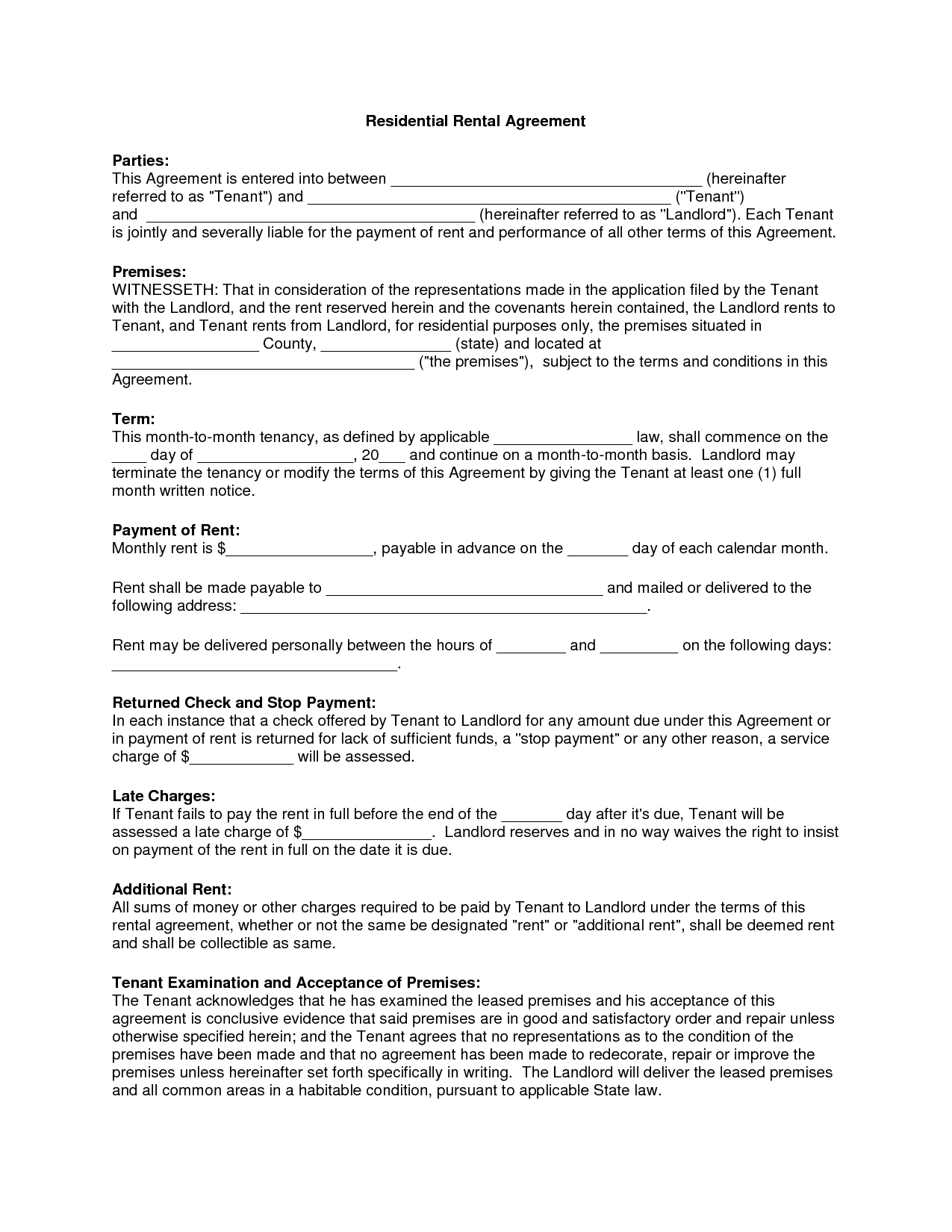 Free Copy Rental Lease Agreement | Residential Rental Agreement - Free Printable Lease Agreement Ny