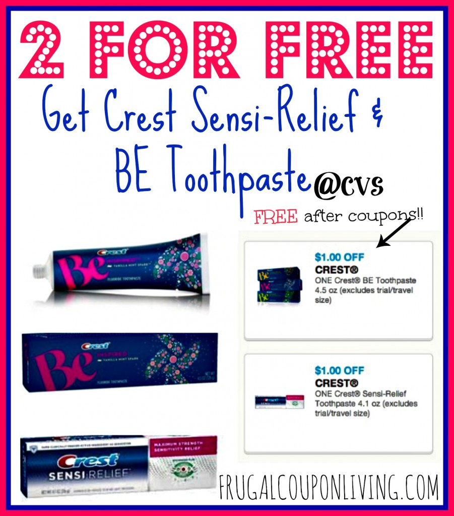 Free Crest Sensi-Relief And Free Be Toothpastes With Printable - Free Printable Crest Coupons