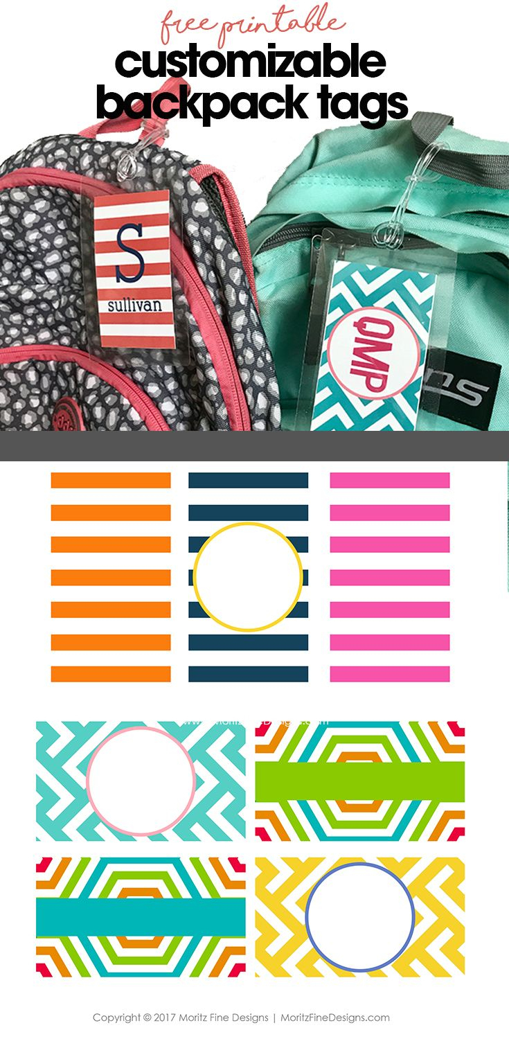 Free Customizable Backpack Tags | Printables | Pinterest | Backpack - Free Customized Name Tags Printable