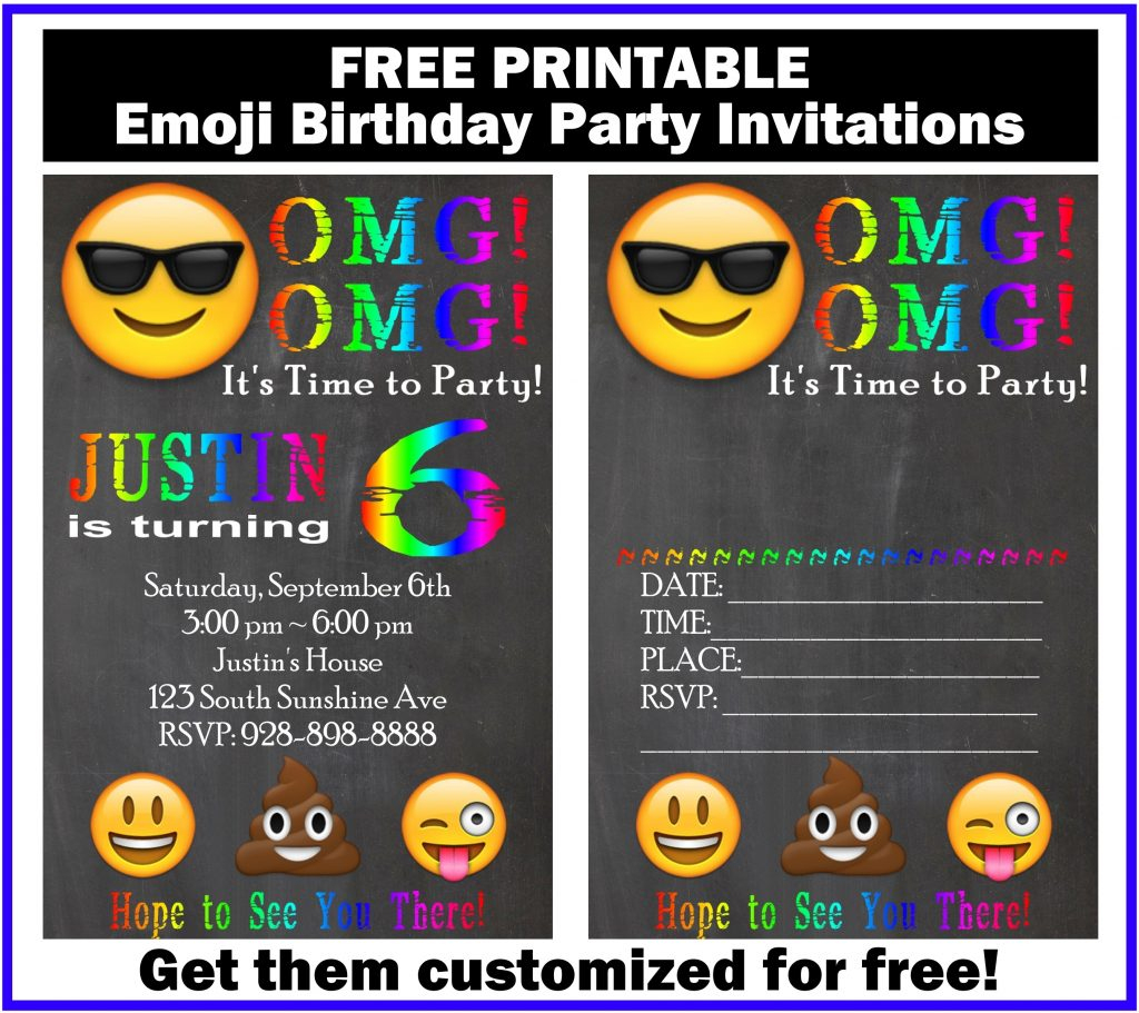 Free Customized Emoji Invitations And Birthday Printables - Emoji Invitations Printable Free