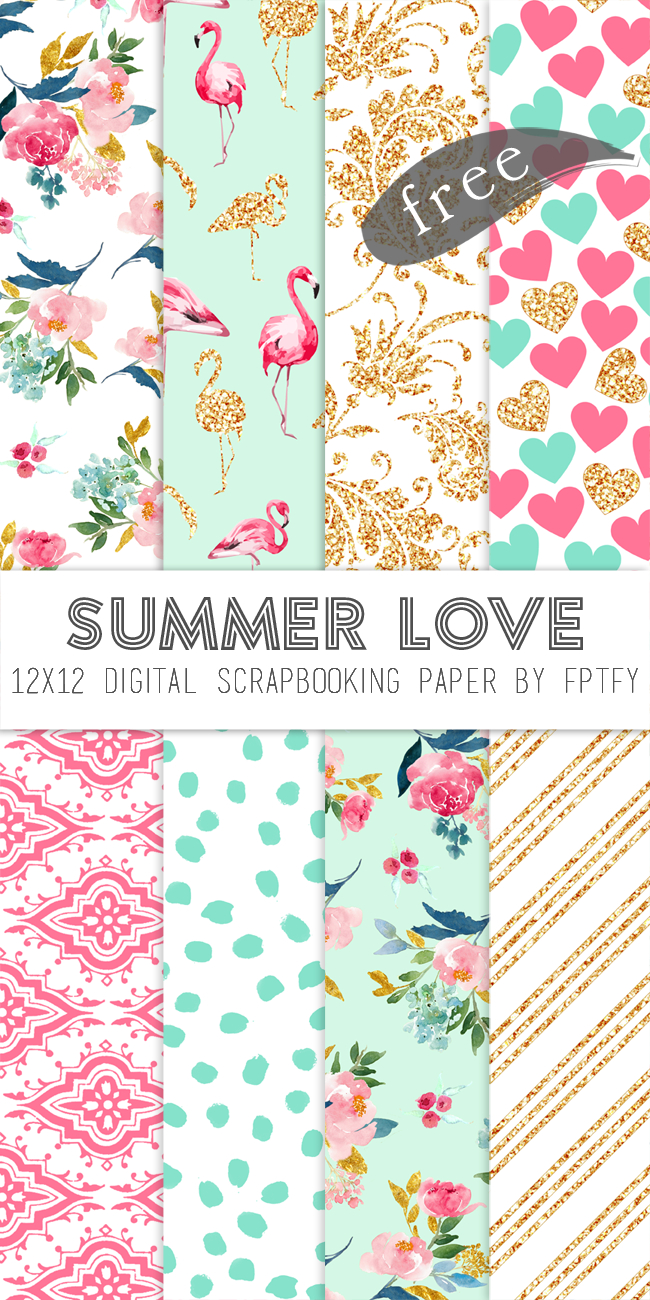 Free Digital Scrapbook Paper-Summer Love | Digital Paper | Digital - Free Printable Scrapbook Paper