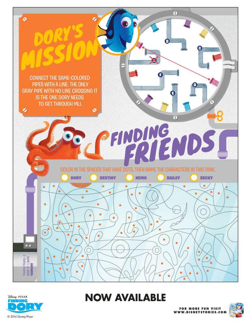 Free Disney Finding Dory Puzzles | Free Printables | Pinterest - Free Printable Disney Stories