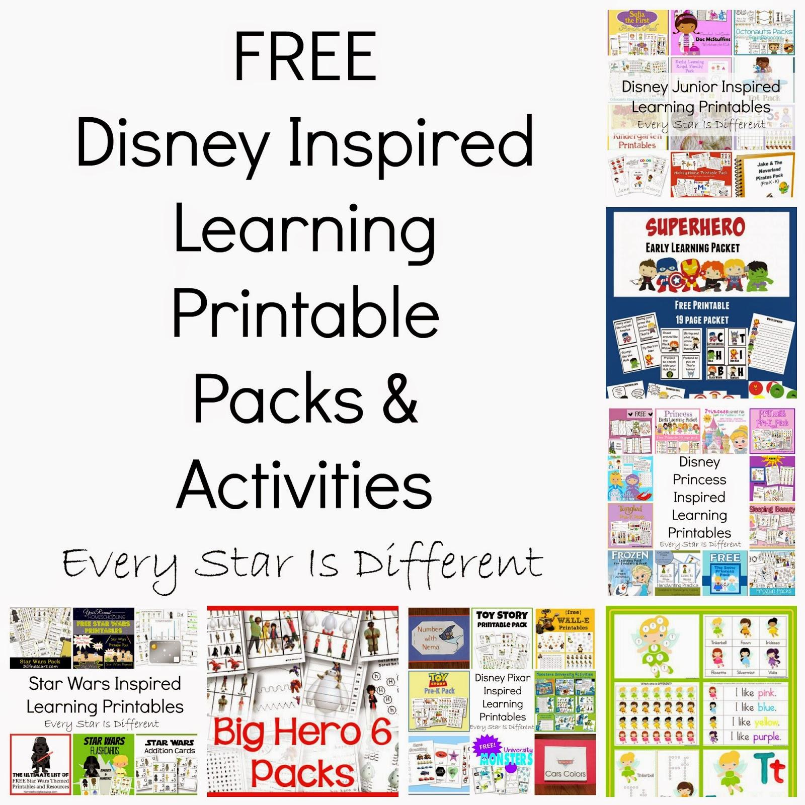 Free Disney Inspired Learning Printable Packs & Activities - Every - Free Printable Activities