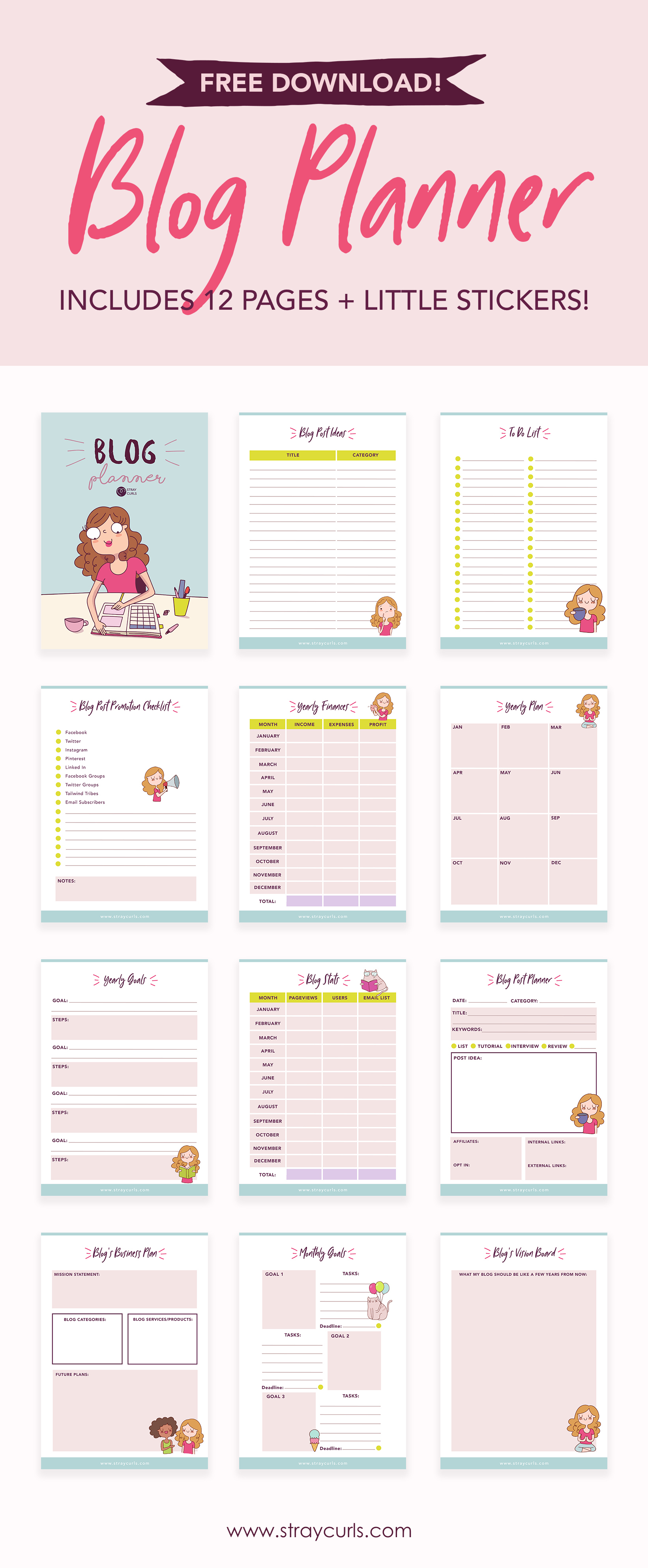 Free Download: 12 Page 2019 Blog Planner - Stray Curls - Free Printable Blog Planner