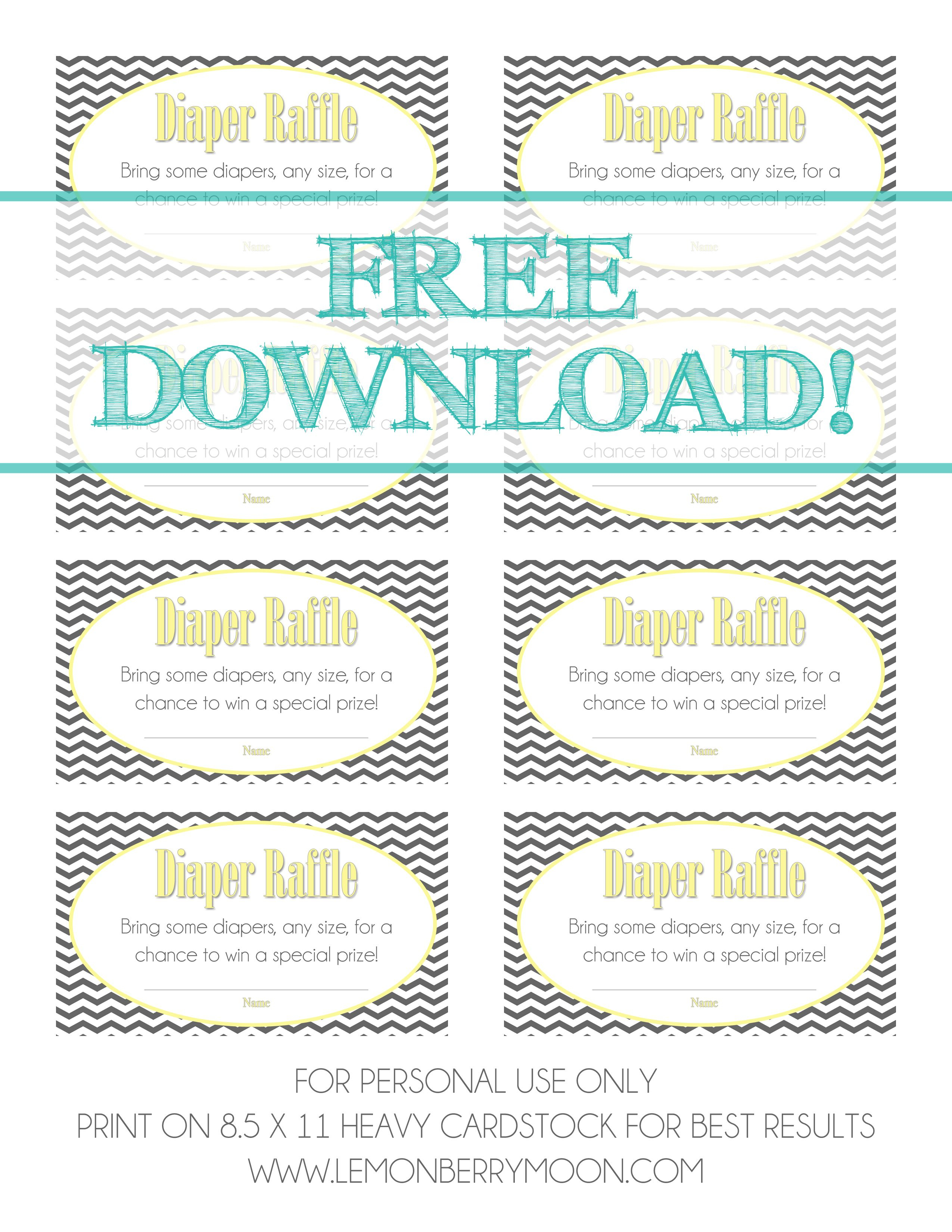 Free Download - Baby Diaper Raffle Template | Baaby Shower | Baby - Diaper Raffle Template Free Printable