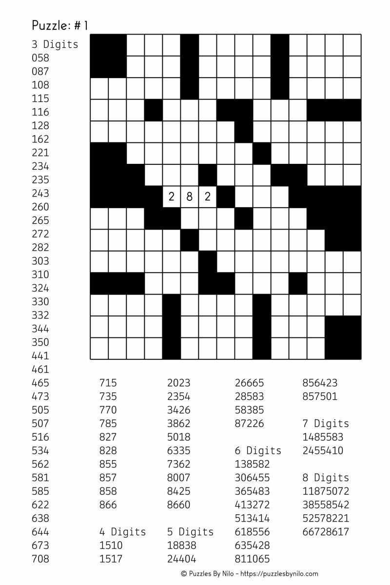 Free Downloadable Number Fill In Puzzle - # 001   Puzzles - Free Printable Fill In Puzzles