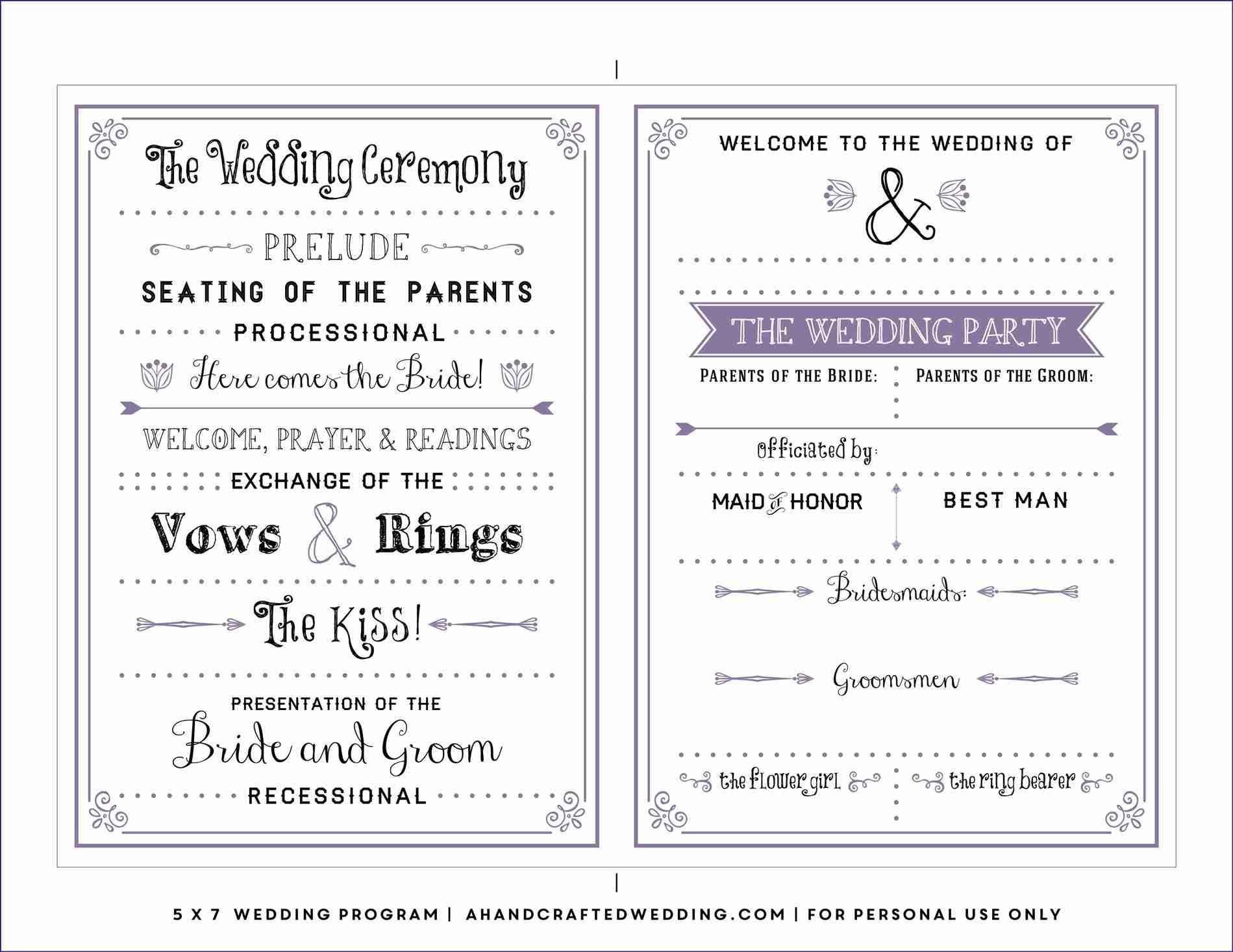 Free Downloadable Wedding Program Template That Can Be Printed - Free Printable Wedding Program Templates Word