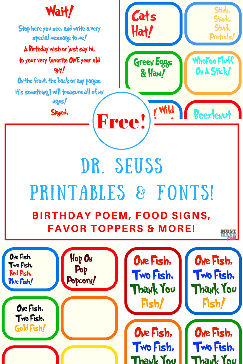 Free Dr. Seuss Printables & Fonts! - Free Printable Dr Seuss Characters