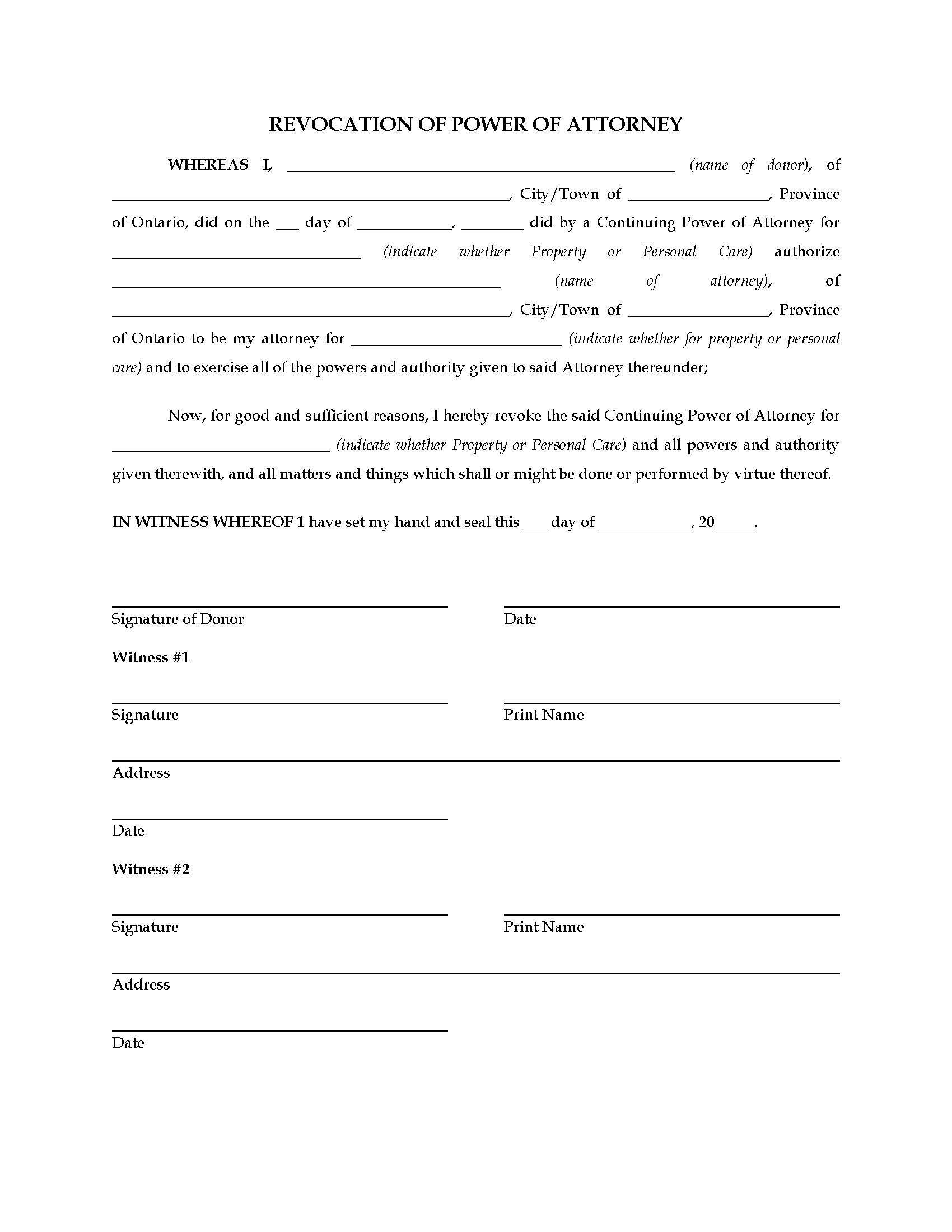 Free Durable Power Of Attorney Forms To Print – Printable Sample - Free Printable Revocation Of Power Of Attorney Form