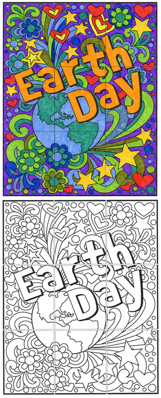 Free Earth Day Mini Mural · Art Projects For Kids - Free Printable Murals