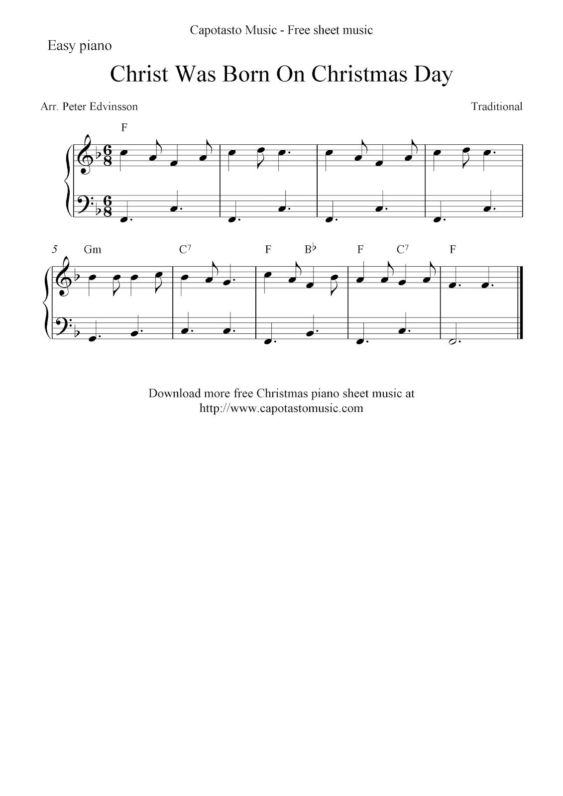 Free Easy Christmas Piano Sheet Music, Christ Was Born On Christmas Day - Christmas Piano Sheet Music Easy Free Printable