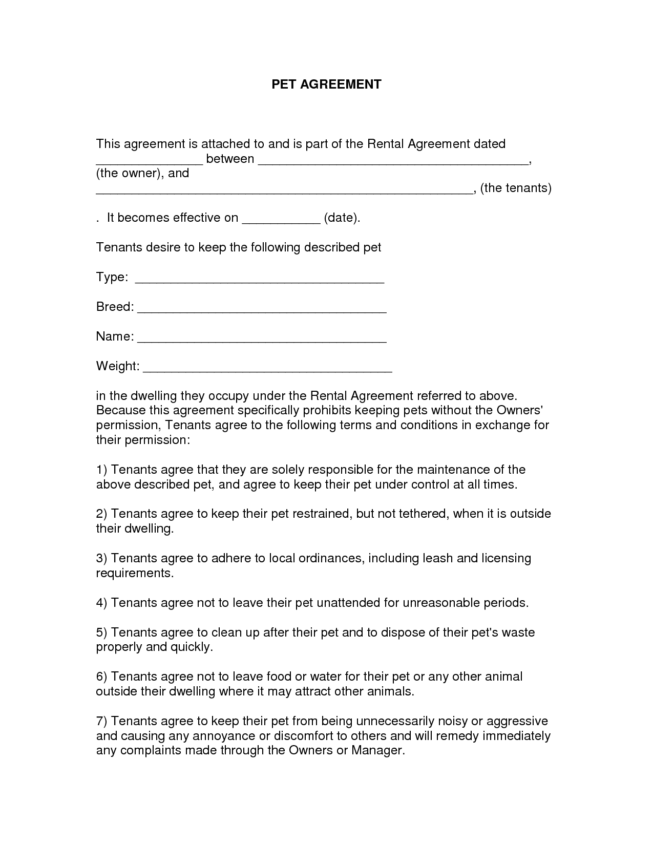 Free Easy Lease Agreement To Print | Free Printable Lease Agreement - Blank Lease Agreement Free Printable