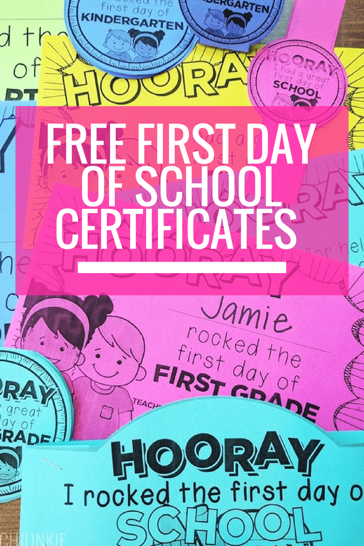 Free Editable First Day Of School Certificates - Teach Junkie - Free Printable First Day Of School Certificate