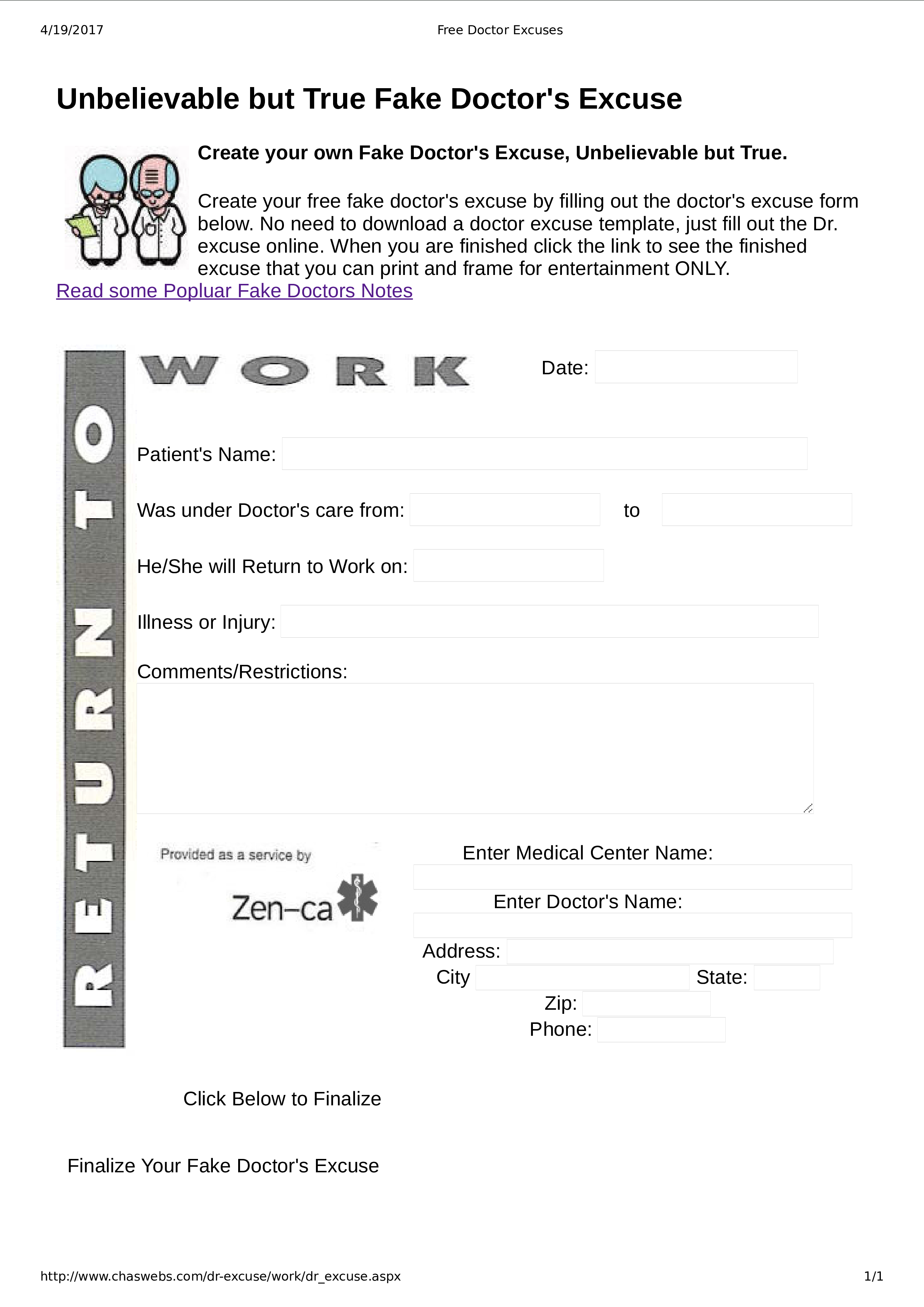 Free Fake Doctor Note For Work | Templates At Allbusinesstemplates - Free Printable Doctors Note For Work