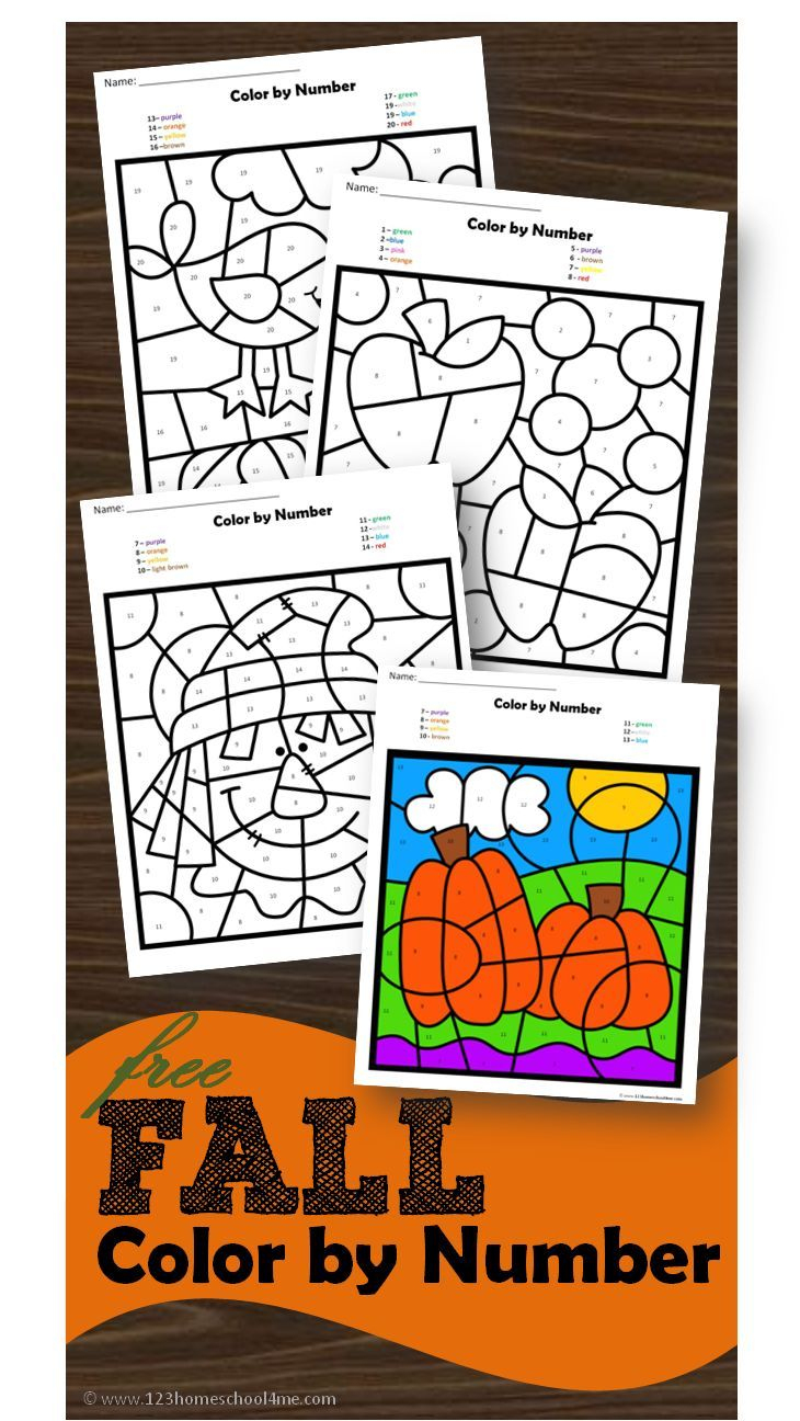 Free Fall Colornumber | K-Math | Pinterest | Kindergarten - Free Printable Fall Math Worksheets