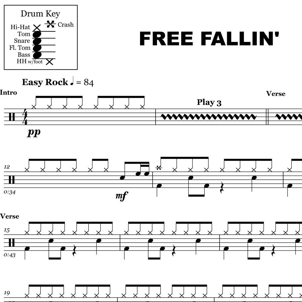Free Fallin' – Tom Petty – Drum Sheet Music – Onlinedrummer - Free Printable Drum Sheet Music