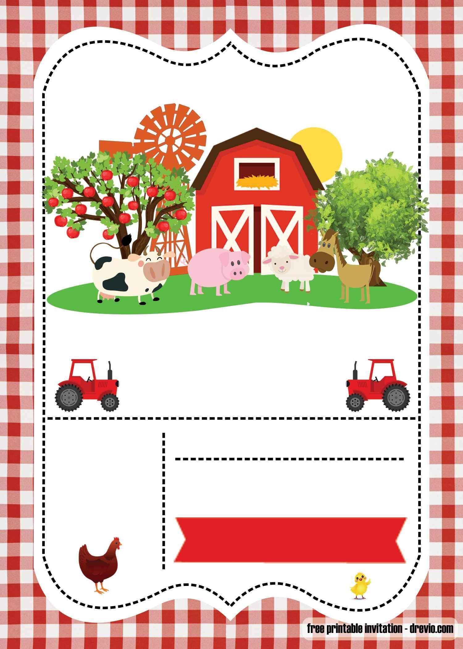 Free Farm Party Invitation Template - | Free Printable Birthday - Free Printable Farm Birthday Invitations