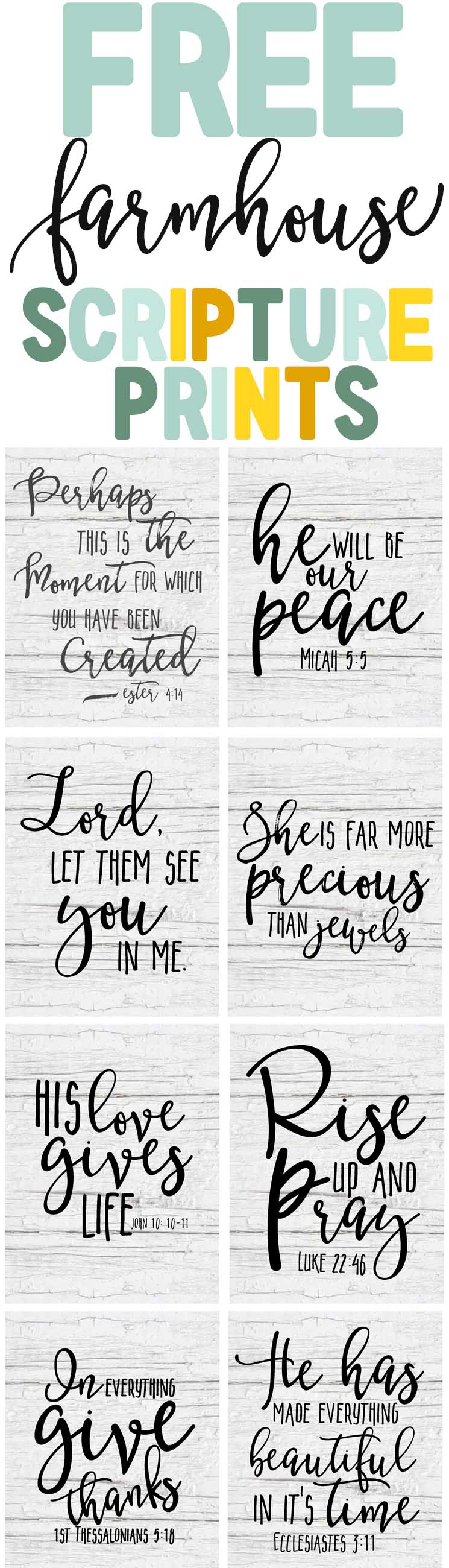 Free Farmhouse Scripture Printables - The Mountain View Cottage - Free Printable Scripture Verses