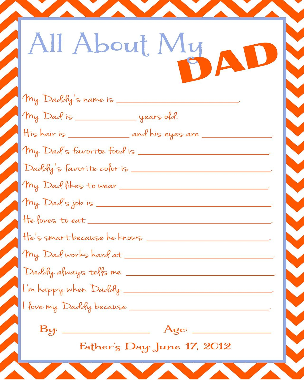Free Father's Day Printable Questionnaire | Two Journeys : One Life - Free Printable Dad Questionnaire