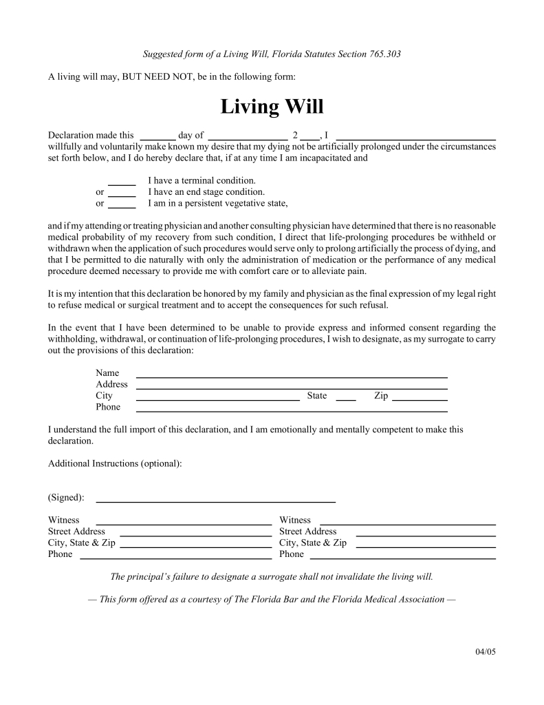 Free Florida Living Will Form - Pdf | Eforms – Free Fillable Forms - Free Printable Last Will And Testament Blank Forms Florida