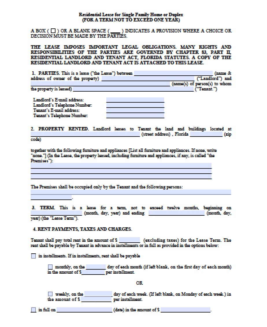 Free Florida Month-To-Month Lease Agreement | Pdf | Word (.doc) - Free Printable Florida Residential Lease Agreement