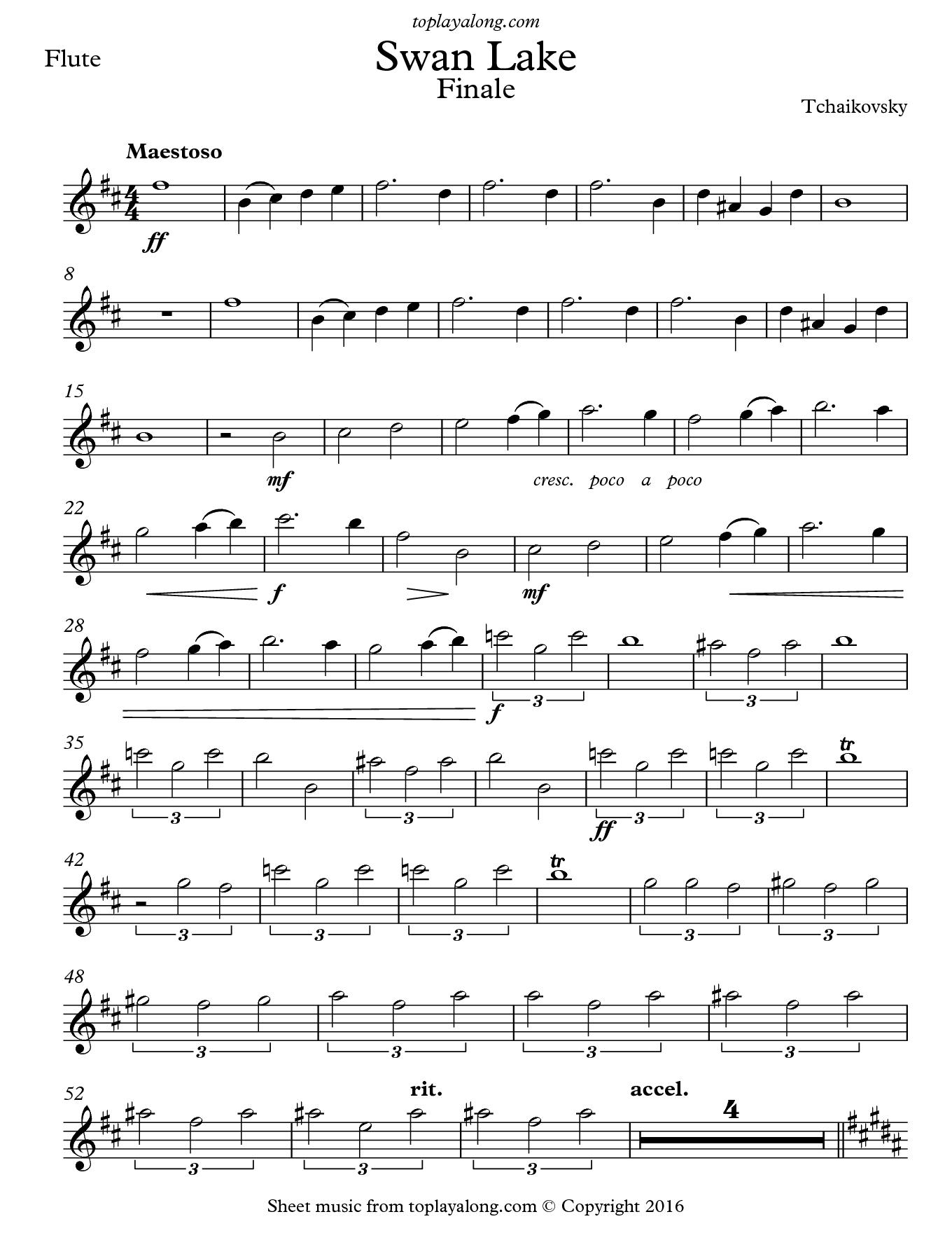 Free Flute Sheet Music For Swan Lake Finaletchaikovsky With - Free Printable Flute Sheet Music