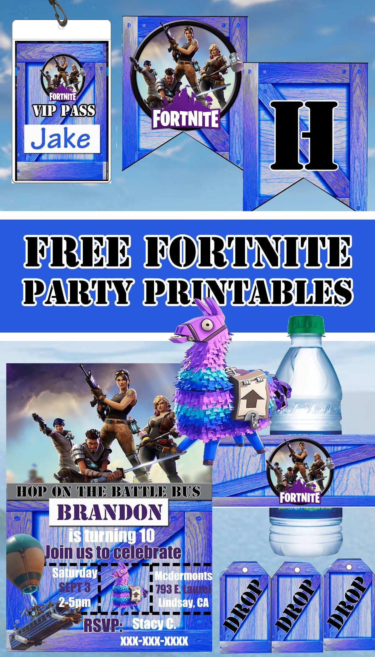 Free Fortnite Birthday Party Printable Files | Banner | Invitation - Free Printable Toy Story Water Bottle Labels