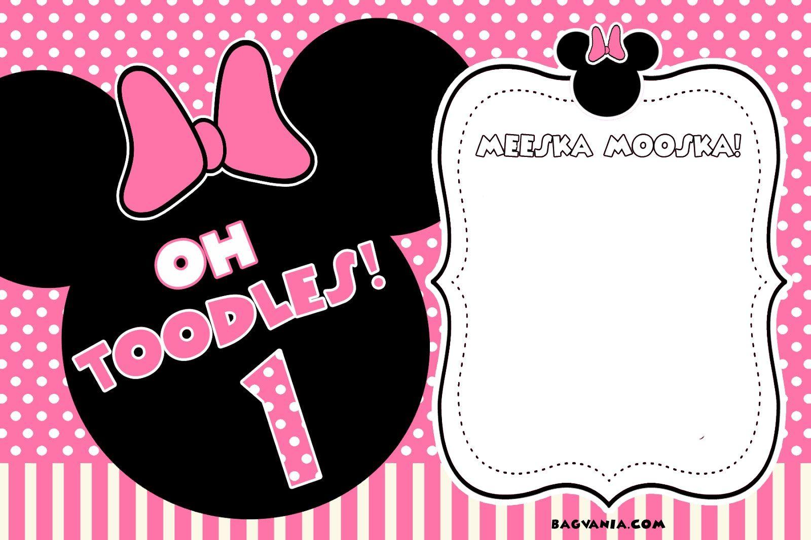 Free Free Printable Minnie Mouse Birthday Invitations | Bagvania - Free Printable Minnie Mouse Invitations