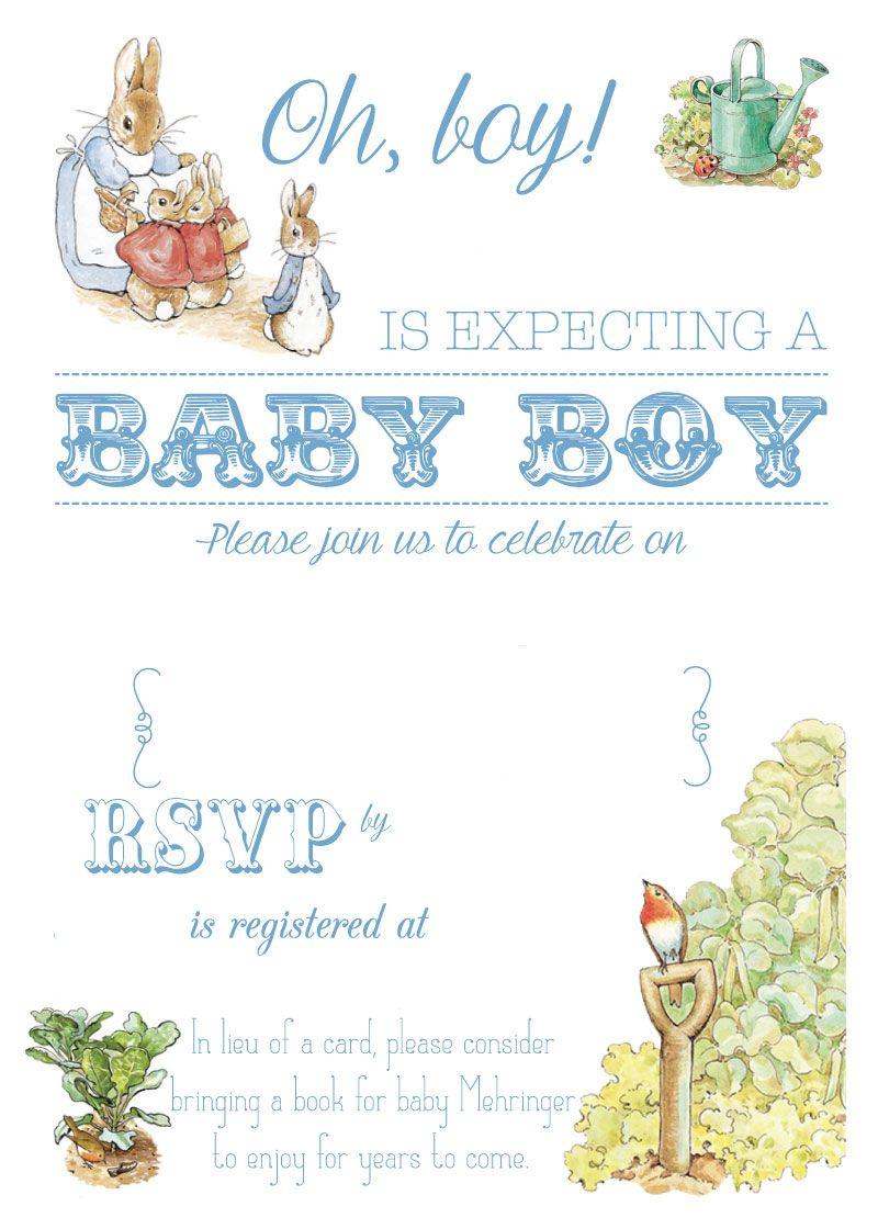 Free Free Printable Peter Rabbit Baby Shower Invitation | Free Baby - Baby Invitations Printable Free