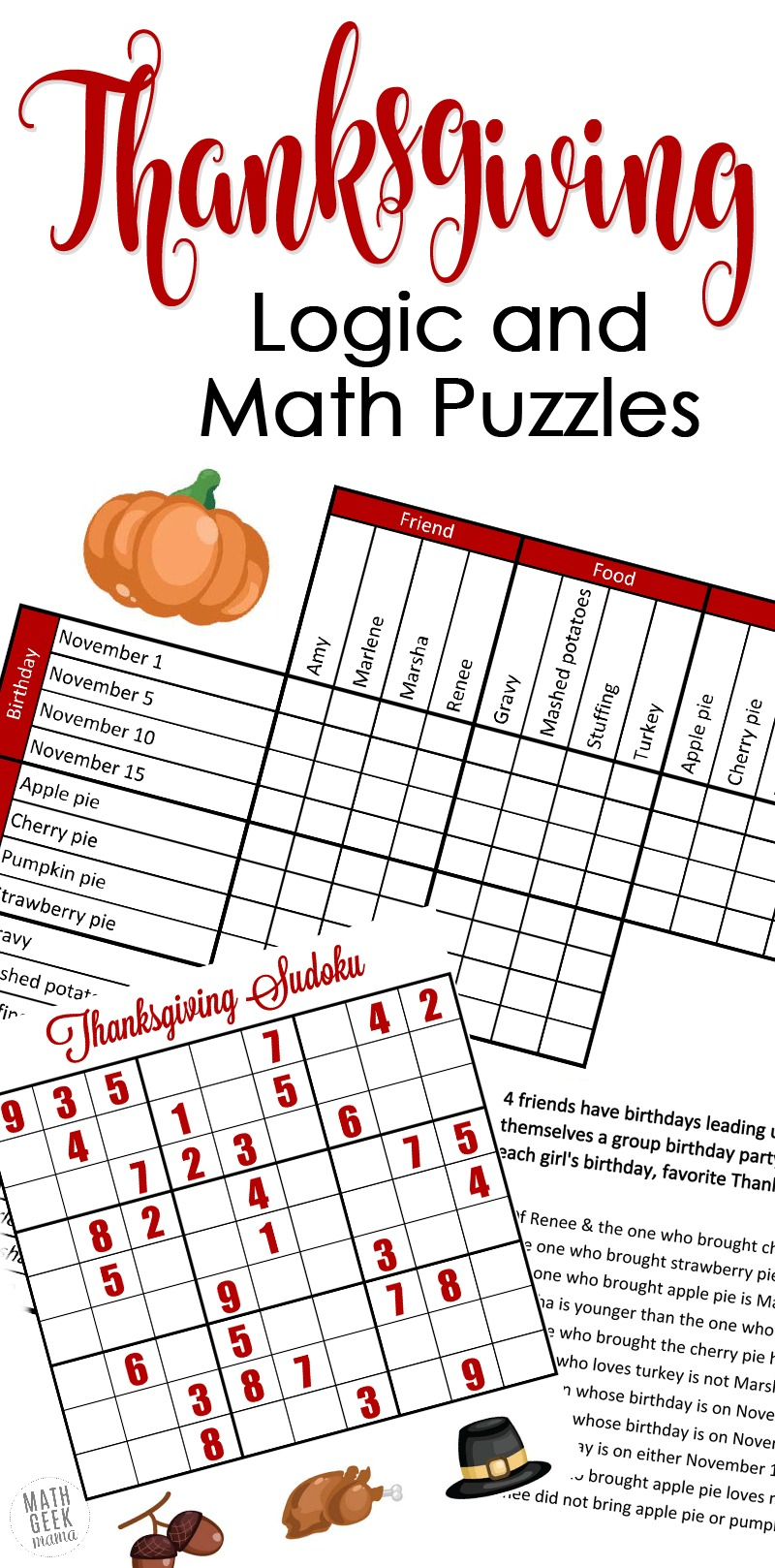 Free} Fun Thanksgiving Math Puzzles For Older Kids - Free Printable Critical Thinking Puzzles