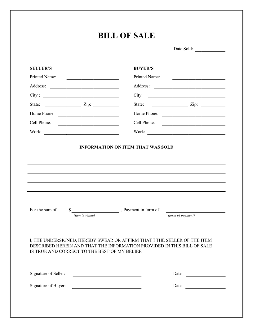 Free General Bill Of Sale Form - Download Pdf   Word - Free Printable Bill Of Sale Form