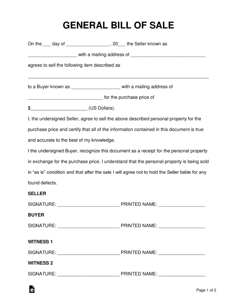 Free General (Personal Property) Bill Of Sale Form - Word | Pdf - Free Printable Bill Of Sale Form