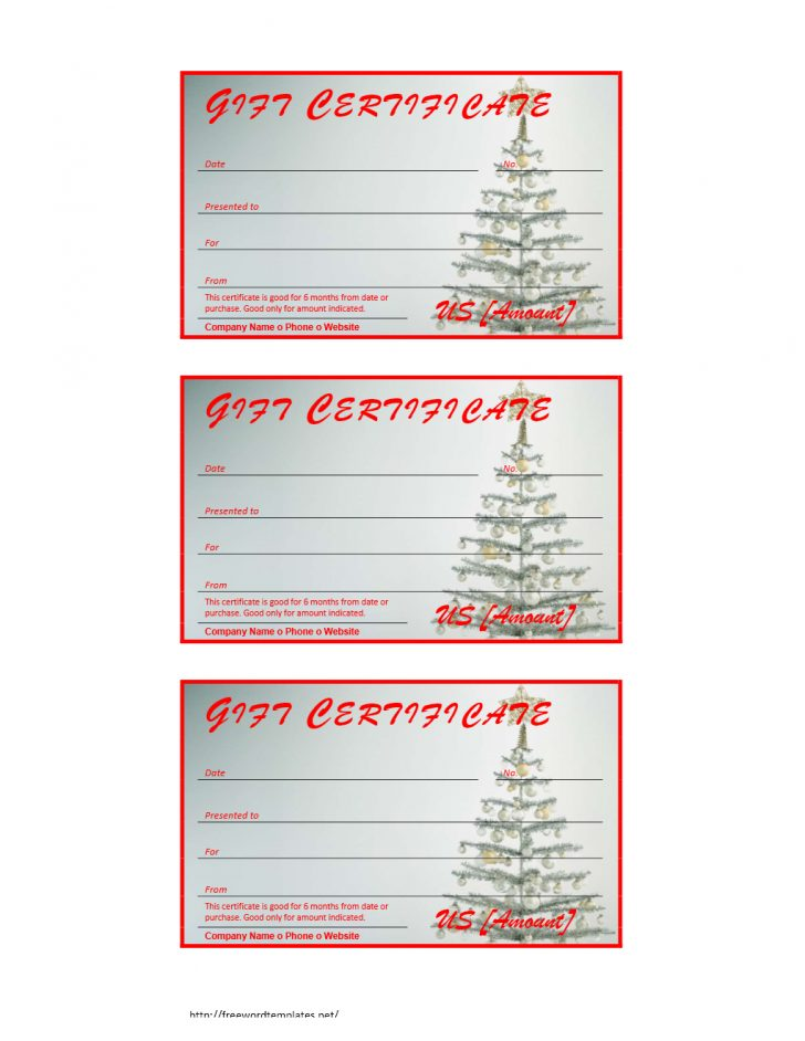 Free Printable Xmas Gift Certificates