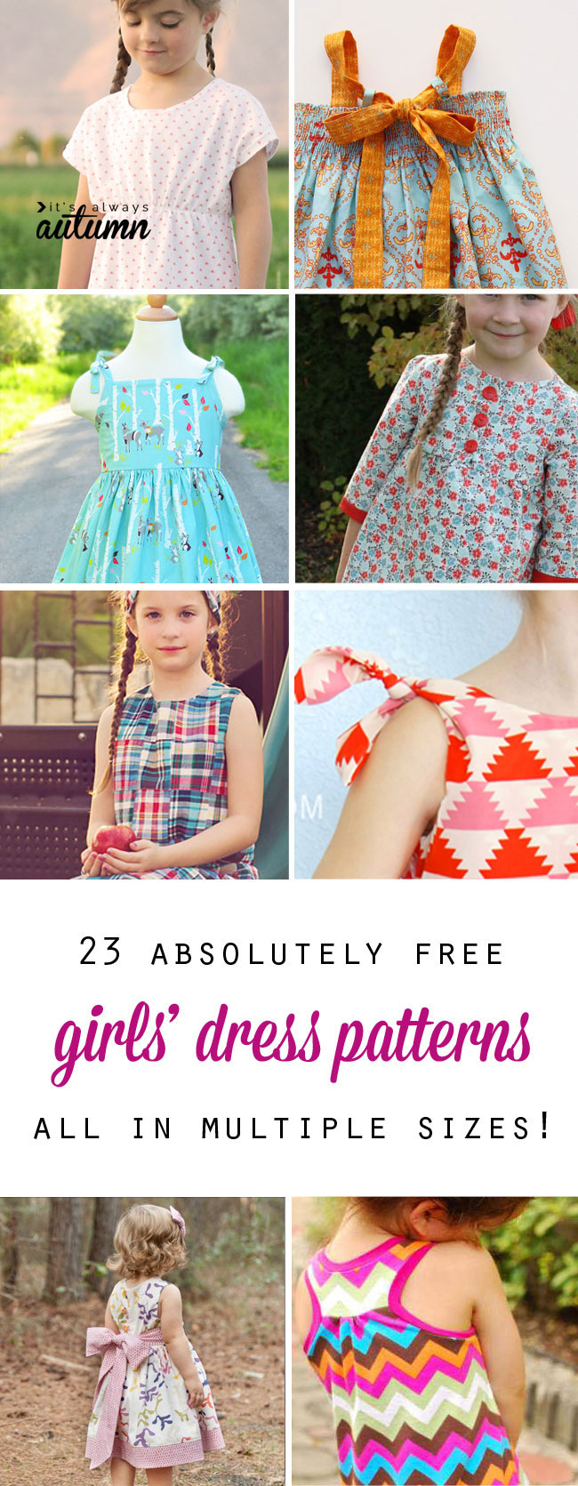Free Girls' Dress Patterns & Charity Sewing - It's Always Autumn - Free Printable Toddler Dress Patterns