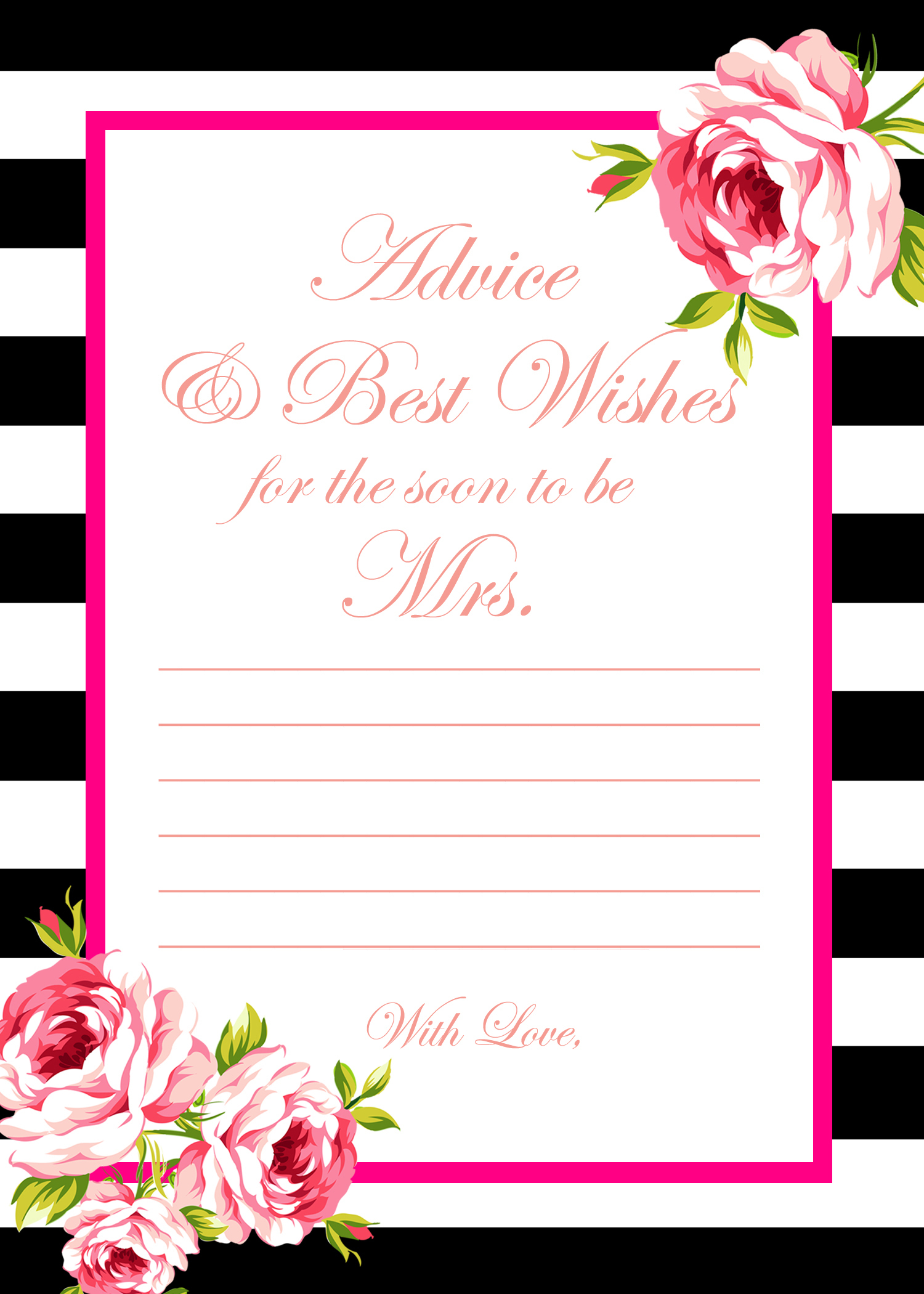 Free Gold Black Stripes Bridal Shower Games - Bridal Shower Ideas - Free Printable Bridal Shower Advice Cards