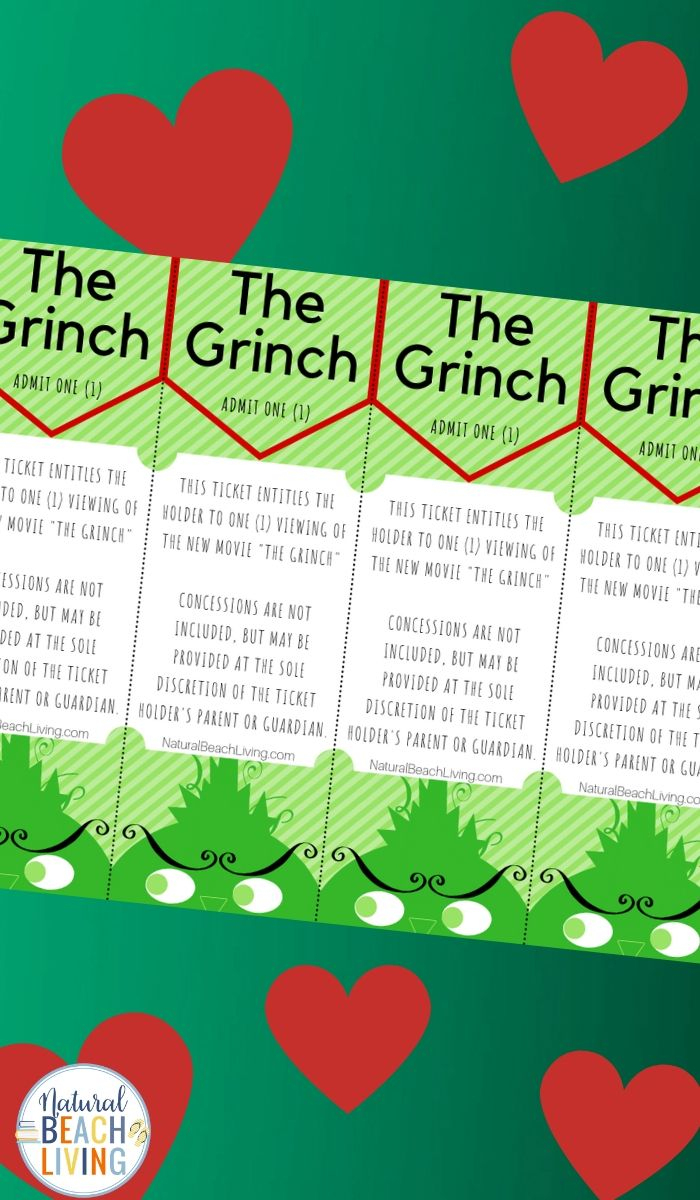 Free Grinch Printable Activities Movie Tickets | Natural Beach - Free Concessions Printable