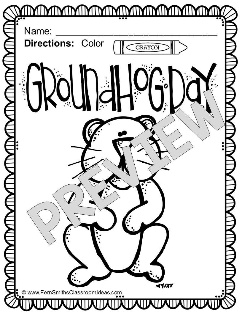 Free Groundhog Day Fun! One Color For Fun Printable Coloring Page - Free Printable Groundhog Day Booklet