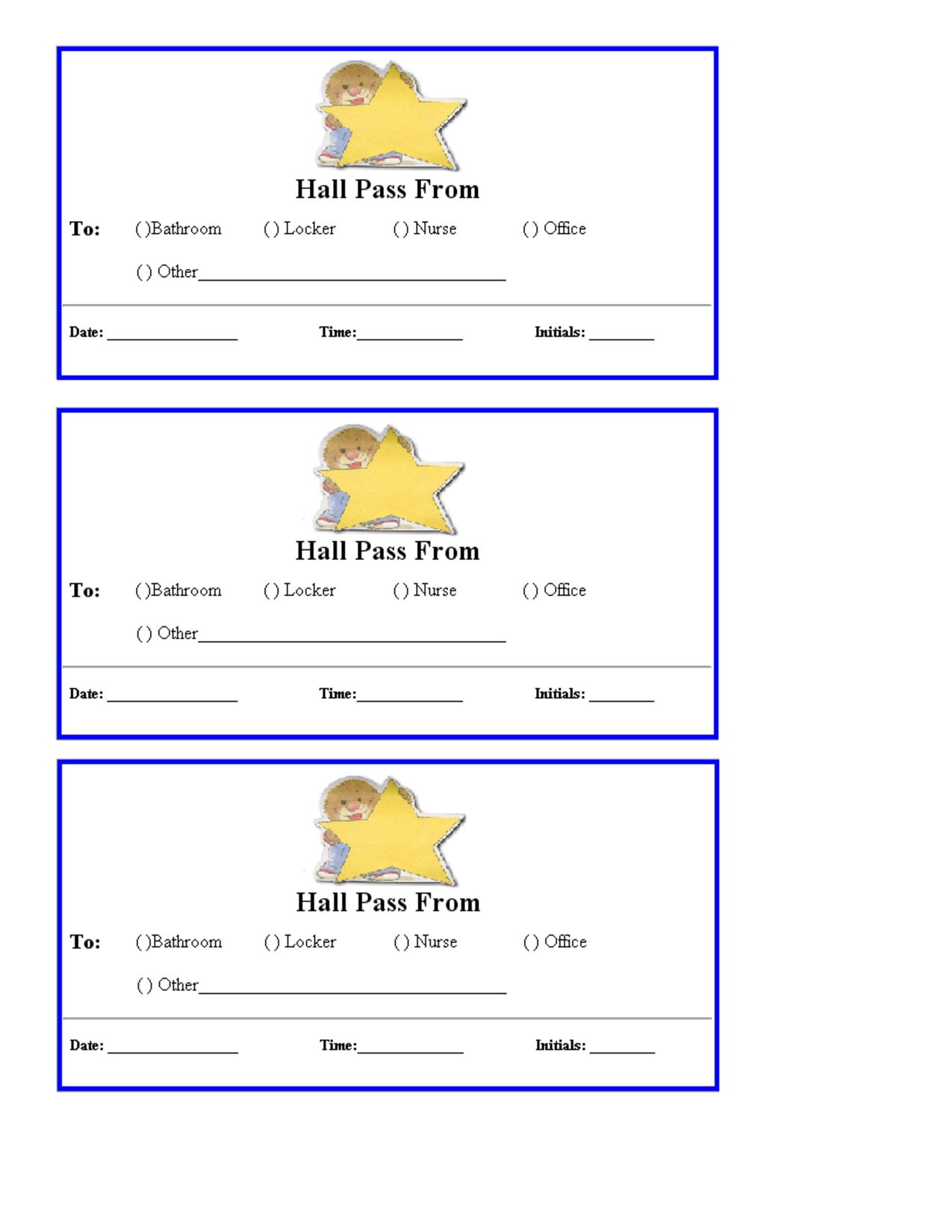 Free Hall Passes For School   Teacher Printables School Hall Passes - Free Printable Hall Pass Template