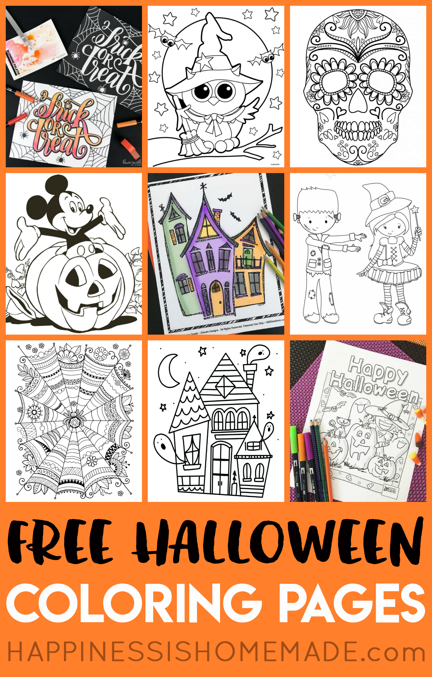 Free Halloween Coloring Pages For Adults & Kids - Happiness Is Homemade - Free Printable Halloween Coloring Pages