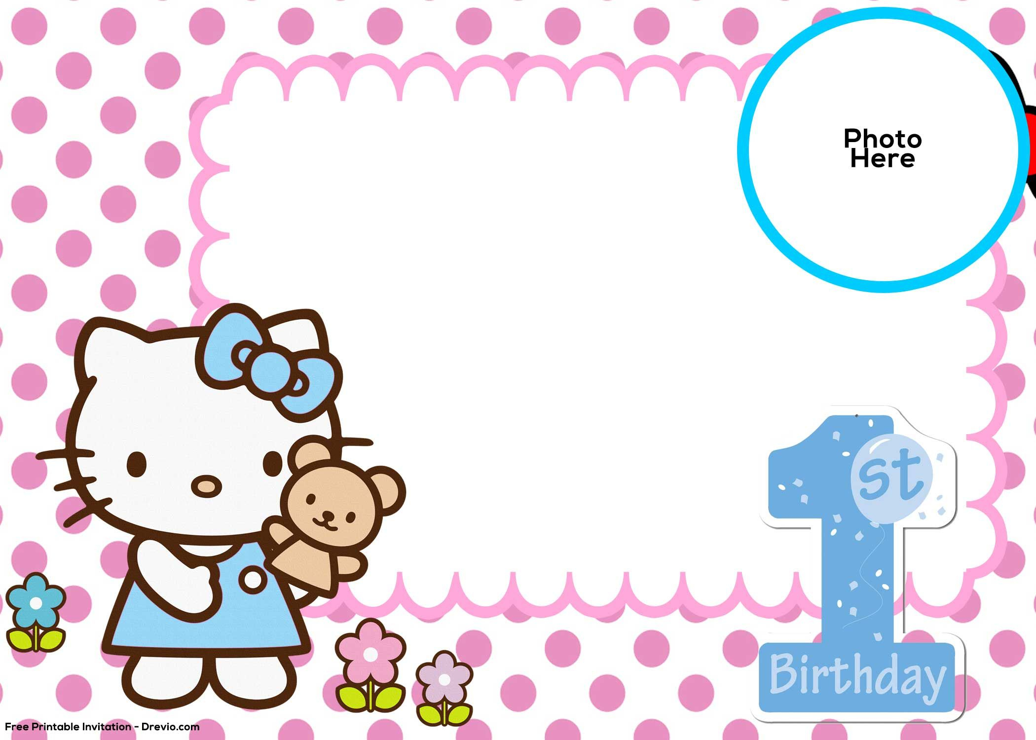 Free Hello Kitty 1St Birthday Invitation | Mickey | Pinterest - Hello Kitty Free Printable Invitations For Birthday