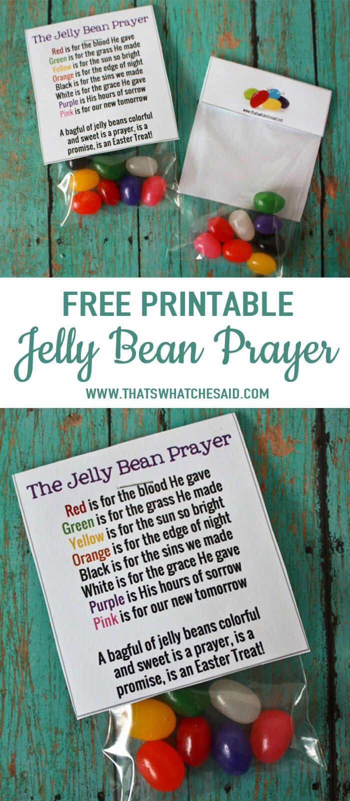Free Jelly Bean Prayer Printable Treat Topper   Easter   Pinterest - Free Printable Easter Sermons