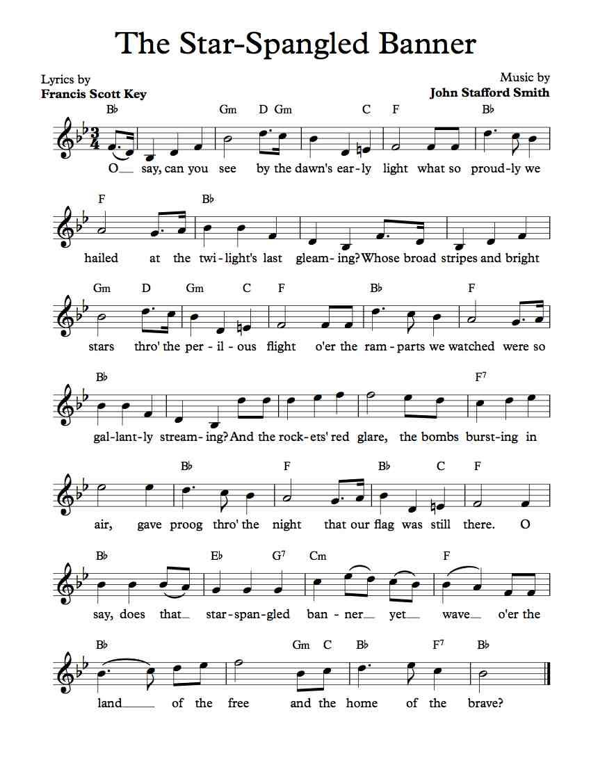 Free Lead Sheet – The Star-Spangled Banner In 2019 | Free Sheet - Free Printable Piano Sheet Music For The Star Spangled Banner