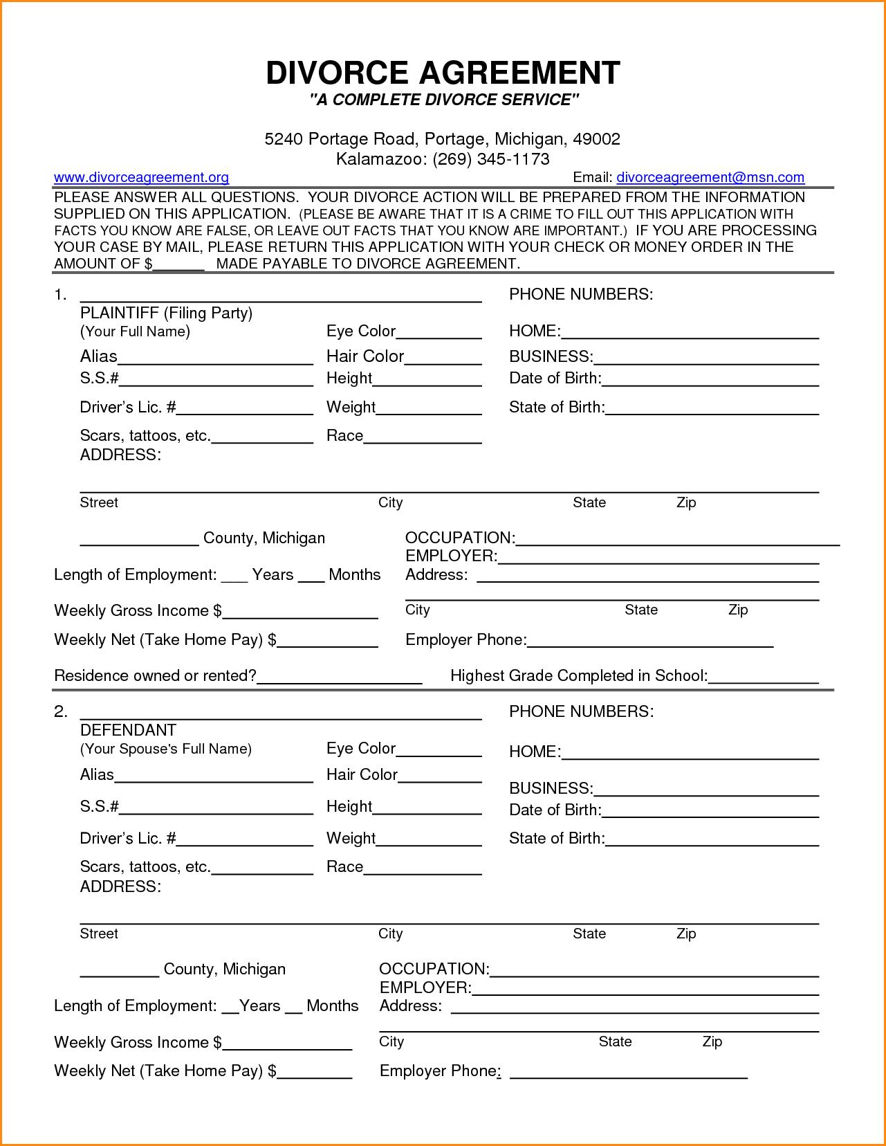 Free Legal Forms Virginia Divorce Sample Service Resume Findforms - Free Printable Divorce Forms Texas