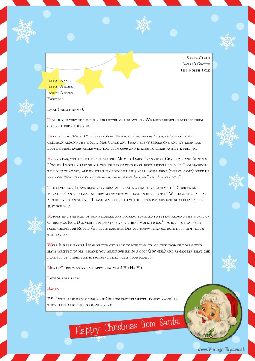 """Free """"Letter From Santa"""" Template For You To Download And Edit - Free Santa Templates Printable"""