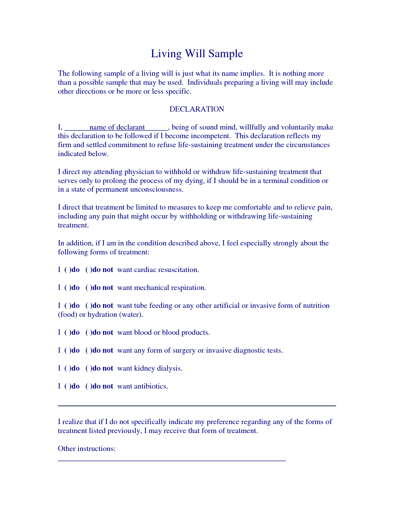 Free Living Will Samplescrizlap - Living Will Examples | Legal - Living Will Forms Free Printable