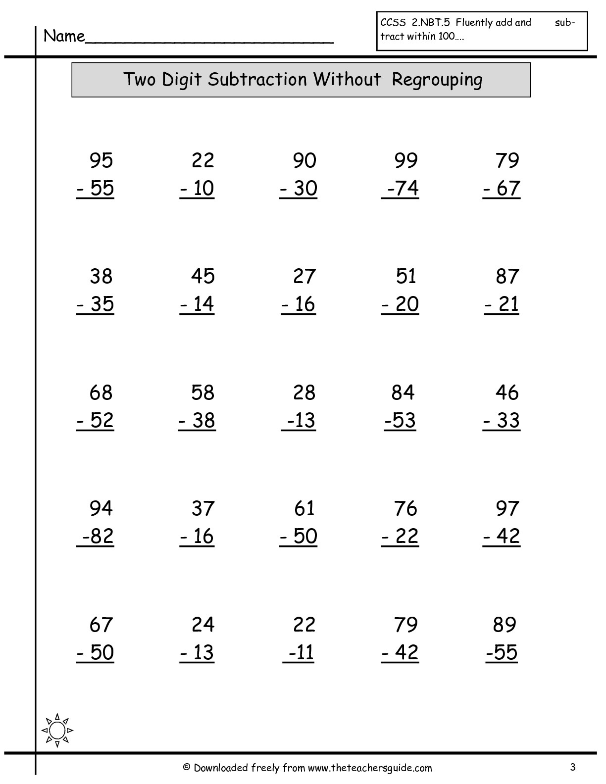 Free Math Printouts From The Teacher's Guide - Free Printable Addition And Subtraction Worksheets