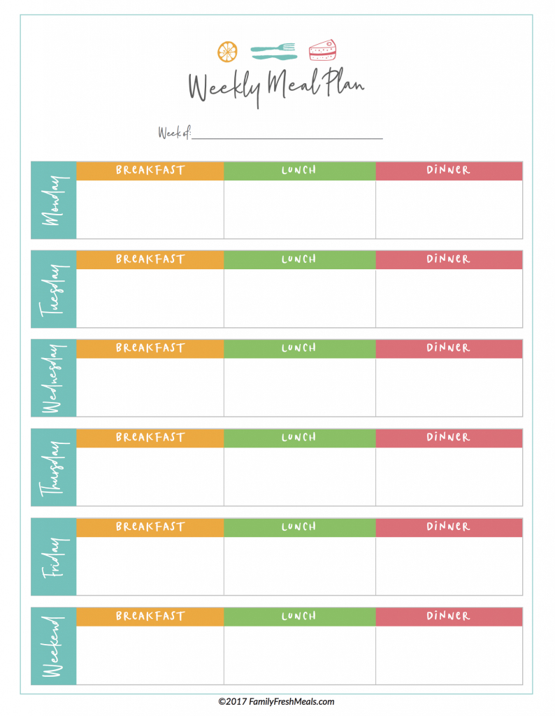 Free Meal Plan Printables - Family Fresh Meals - Free Printable Meal Planner