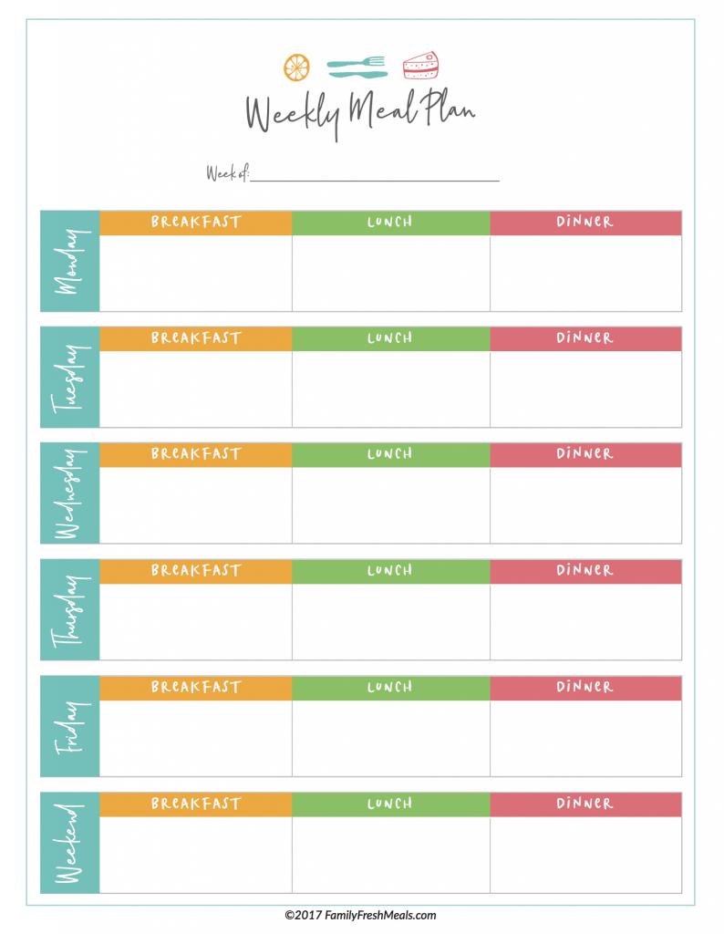 Free Meal Plan Printables - Family Fresh Meals - Free Printable Weekly Dinner Menu Planner