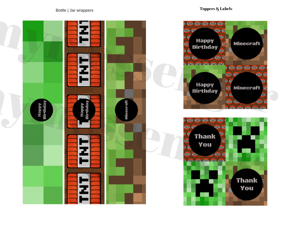 Free Minecraft Banner & Toppers - Baby Shower Ideas - Themes - Games - Free Printable Minecraft Cupcake Toppers And Wrappers