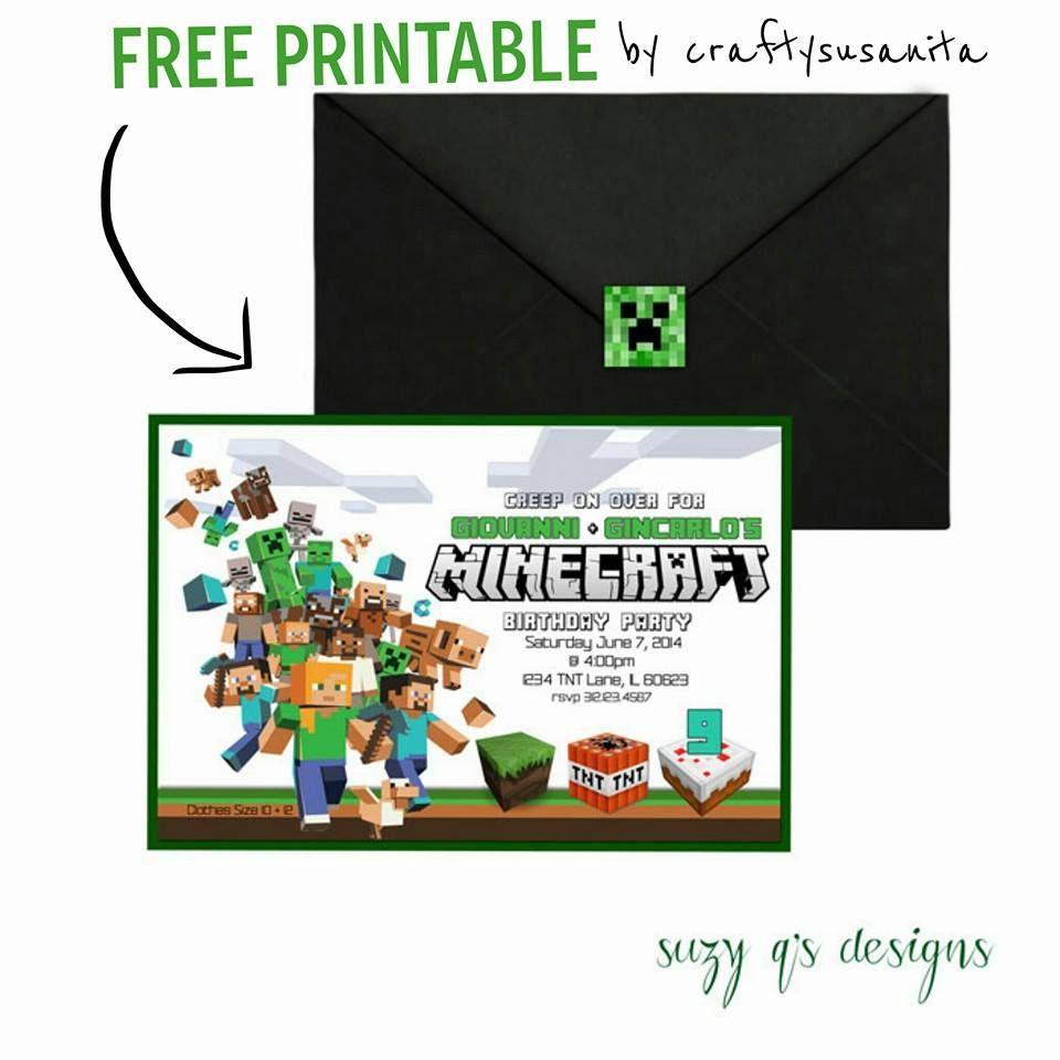 Free Minecraft Birthday Invitation Printable!!!!   Anniversaire - Free Printable Minecraft Invitations
